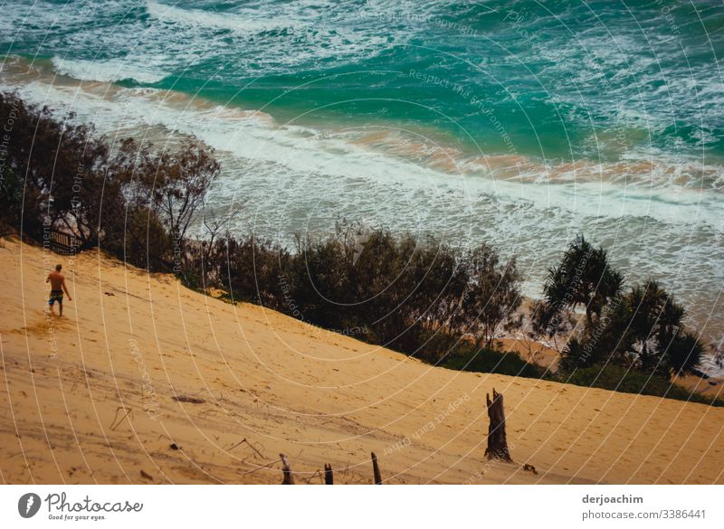 A man walks down the sand dune to the sea Sand Ocean Water Surf Waves White crest Nature Exterior shot Coast Colour photo Elements Copy Space top Environment