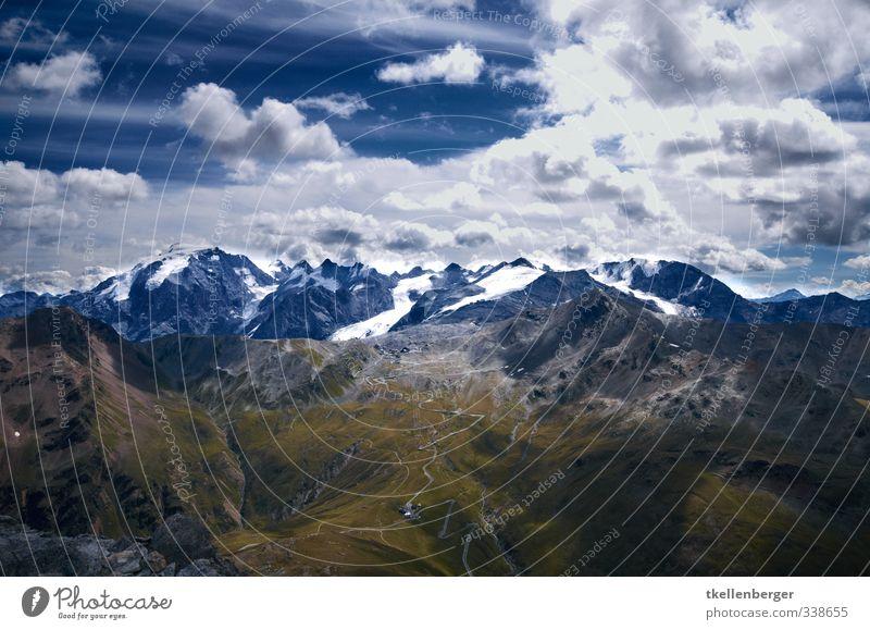 Stelvio yoke Sports Hiking Climbing Alps Mountain Stilfserjoch Italy Austria Switzerland triangle Border Pass Peak Snowcapped peak Glacier Alpine pasture