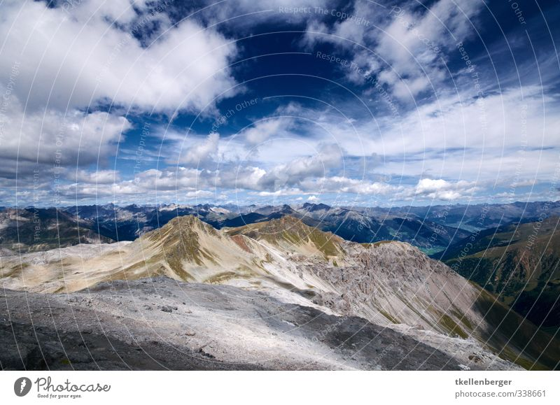 Piz Umbrail Nature Earth Sand Sky Clouds Summer Weather Beautiful weather Rock Alps Mountain Swiss mountains Mountaineering Slope Hiking Hiking trip