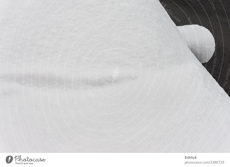 Detail snowed-in car with side mirror and windscreen Snow detail Windscreen Side mirror Abstract Winter snowed in Black & white photo Ear Car Shelved wiper