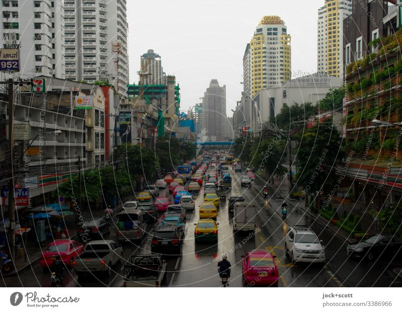 Traffic jam in Bangkok Sky Evening Street Traffic infrastructure Road traffic cars Smog High-rise Downtown Mobility Rush hour Bad weather gorge of houses