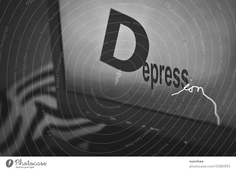 depression Word Letters (alphabet) Screen Computer writing Characters Typography Text Deserted Digital somber Dark Black & white photo Sadness Illness