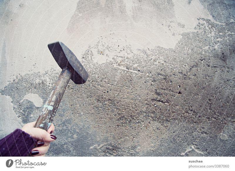 break through a wall with a hammer Photochallenge Hammer Tool Broken Force brachial Metal Craftsperson Anger destructive rage masonry Craft (trade) Woman Hand