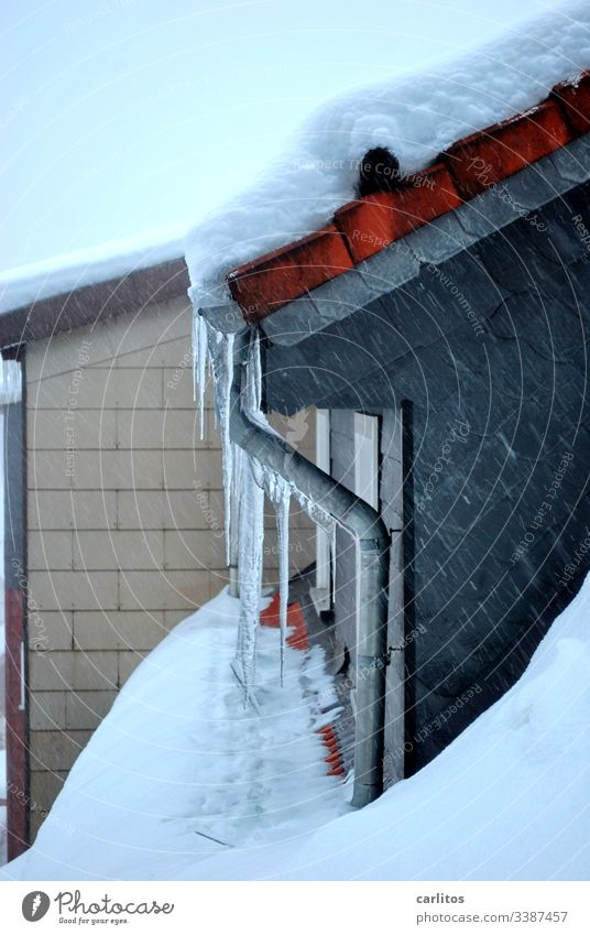 Icicle on gutter on dormer on house Harz Winter, Snow Ice peak roof avalanche House (Residential Structure) Roof Dormer Tiles, depression Loneliness
