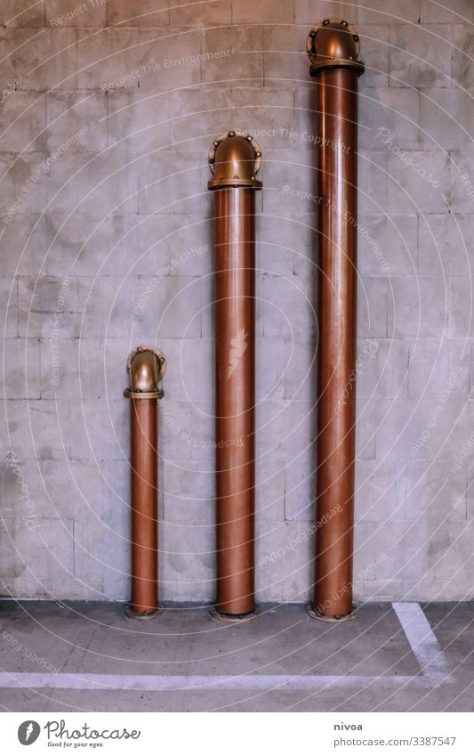 Copper tubes Conduit conduit reeds Concrete Wall (building) Modern modern architecture Transmission lines Wall (barrier) Colour photo Gray Deserted Pipe Line
