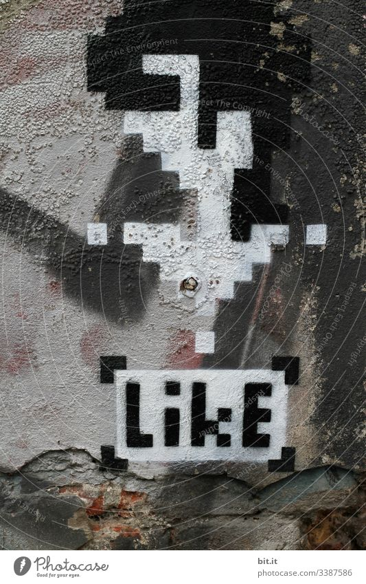 Glad about likes ...thanks Like Wall (building) Facade Graffiti Art Sign Deserted Youth culture Wall (barrier) Characters Subculture Culture Town Design