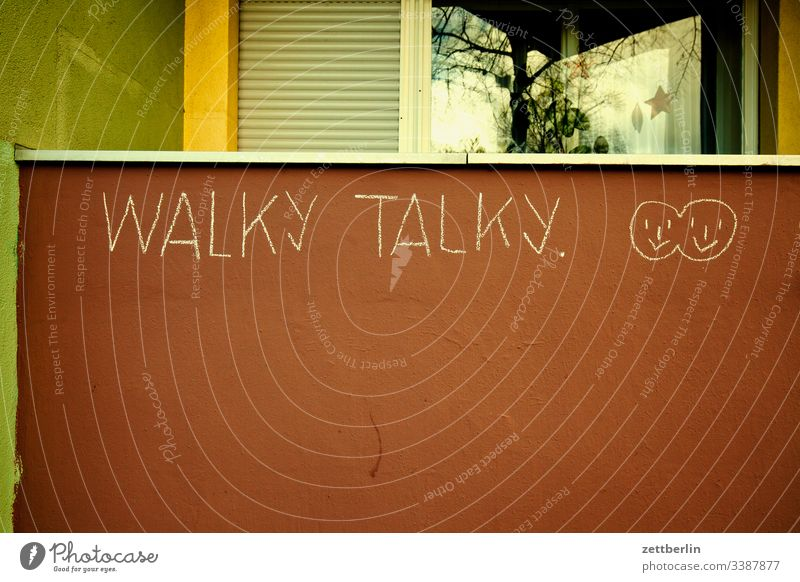 walky talky on the outside Facade Window House (Residential Structure) rear building Backyard Interior courtyard downtown Wall (barrier) Apartment house