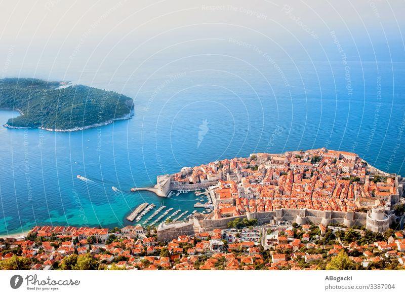 City Of Dubrovnik On The Adriatic Sea Aerial View dubrovnik croatia city aerial view landmark famous sea historic medieval architecture tourist destination
