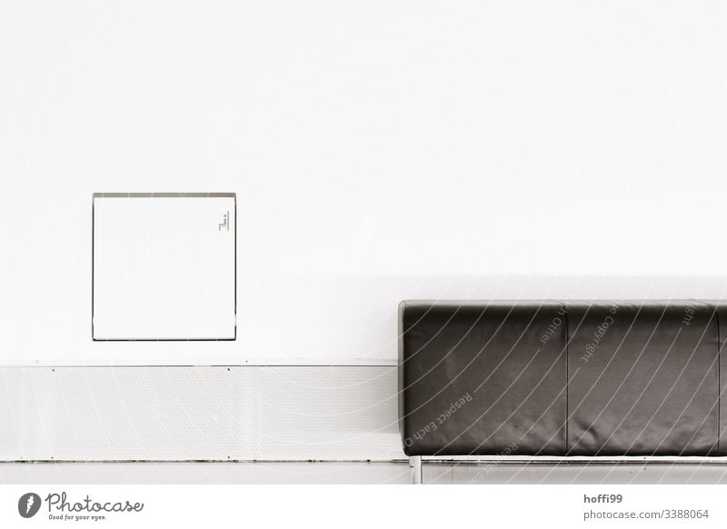 minimalistic composition of sofa and wall architecture Square Sofa Chair Interior shot Deserted Light classic style Spatial impression Esthetic Noble Simple