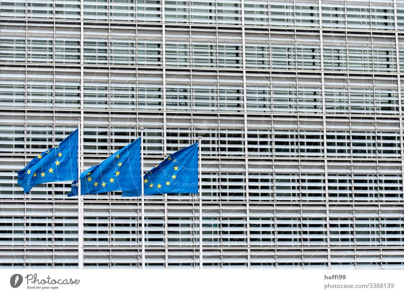 three European flags in front of the EU Commission Symmetry Central perspective Column Building Clean urban Line Pattern urban forms Structures and shapes