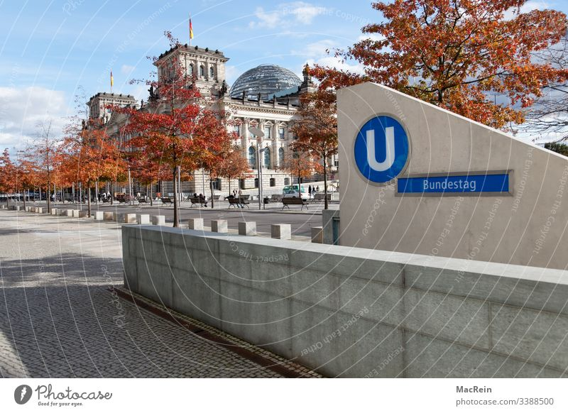 Subway to the Bundestag Underground underground Subsoil Station Stop (public transport) Reichstag Berlin Germany nobody Copy Space Sky Blue Cloud formation
