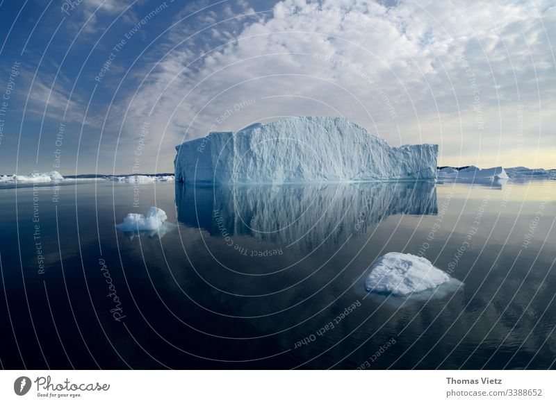 Iceberg in the disco bay with reflection Water reflection Nature Exterior shot Glacier Environment Landscape Climate Vacation & Travel Antarctica Ocean