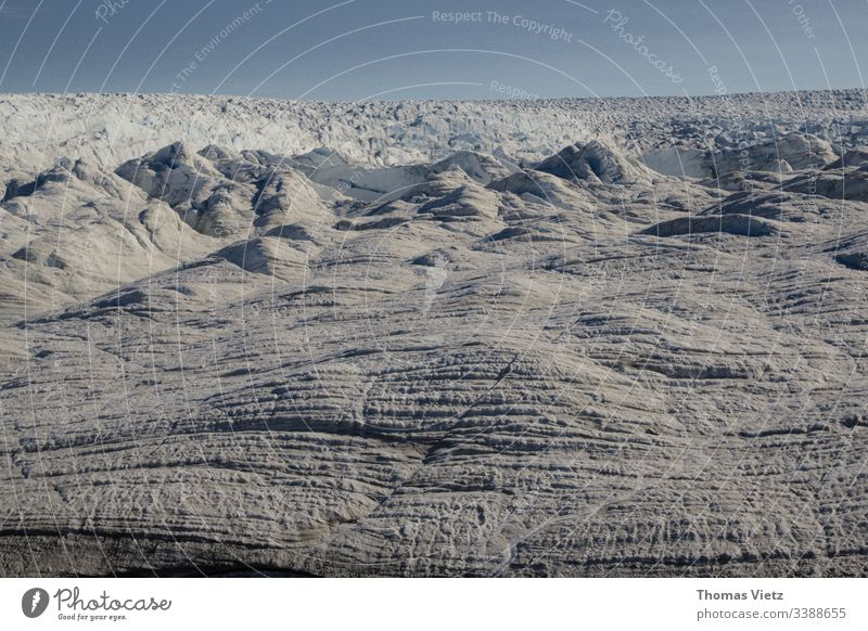 Greenland mainland ice Ice Glacier Climate Cold White Snow ClimateClimate change endless wide Landscape Horizon infinitely Frost Exterior shot Deserted