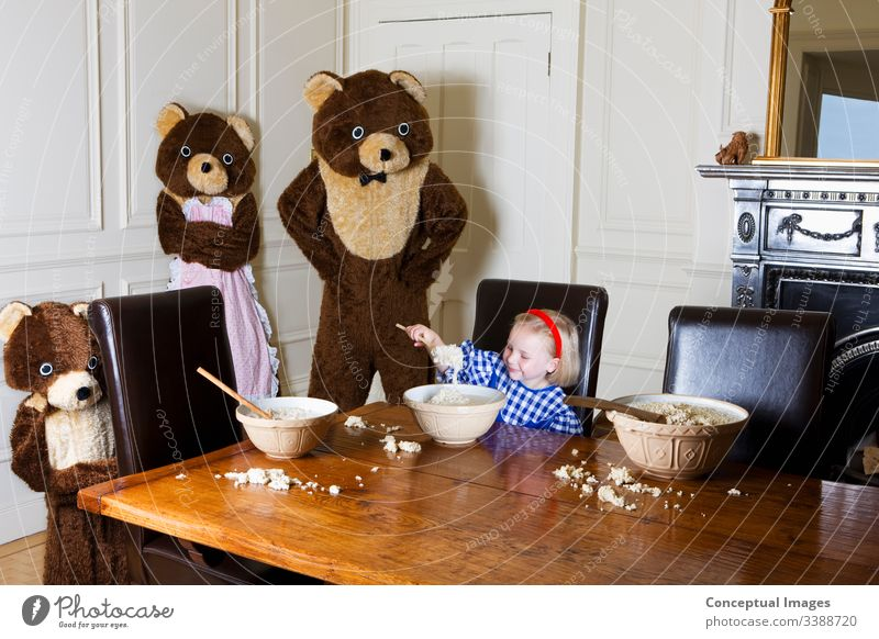 Goldilocks and the three bears 4 5 years Bear Bowl Breakfast Childhood Children Clothing Costume Dining room Eating Fairy tale Females Fictional character Food