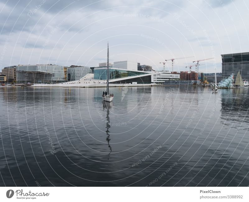 Port of Oslo with opera Norway Town Sky Vacation & Travel Culture Opera house Ocean Landmark Architecture Capital city Europe