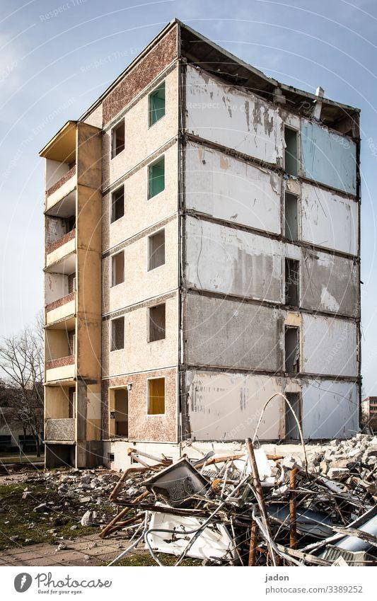 collapsing panel buildings. Building for demolition outline Prefab construction Dismantling Exterior shot Destruction House (Residential Structure)