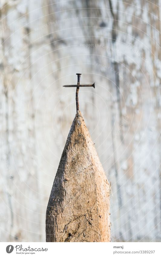 summit cross Crucifix Religion and faith Peak cross Nail Screw Wood Point Crossed Easter Good Friday Old corroded tranquillity Hope Symbols and metaphors