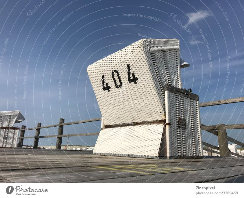 404 Beach chair White Blue Holidays& Vacation Summer Ocean travel North Sea Tourism website error 404 Deserted Copy Space left Copy Space top Exterior shot