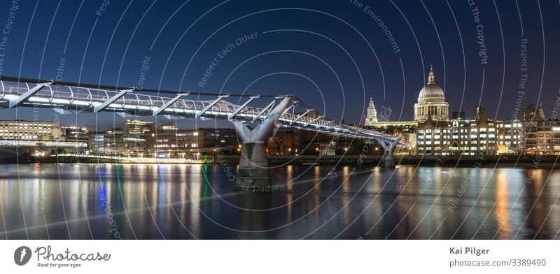 Long exposure of Saint Paul's Cathedral and Millennium Bridge at night ancient anglican architecture britain british building cathedral catholic catholicism