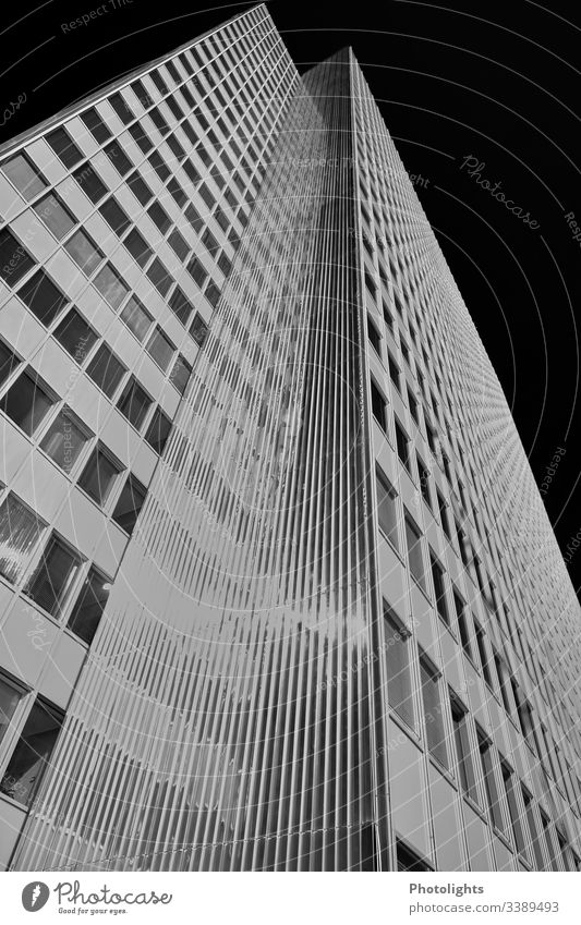 High-rise building black and white Black White Gray Architecture Building Exterior shot Deserted Facade Window Modern Manmade structures Worm's-eye view