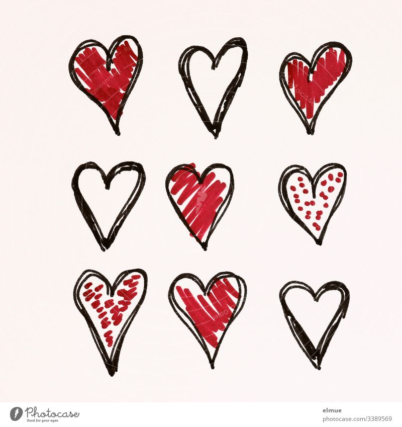 nine differently painted hearts Scribbles Draw Drawing symbolism Communication scribble Interpret Painting (action, artwork) Pictogram sketch Style stylized