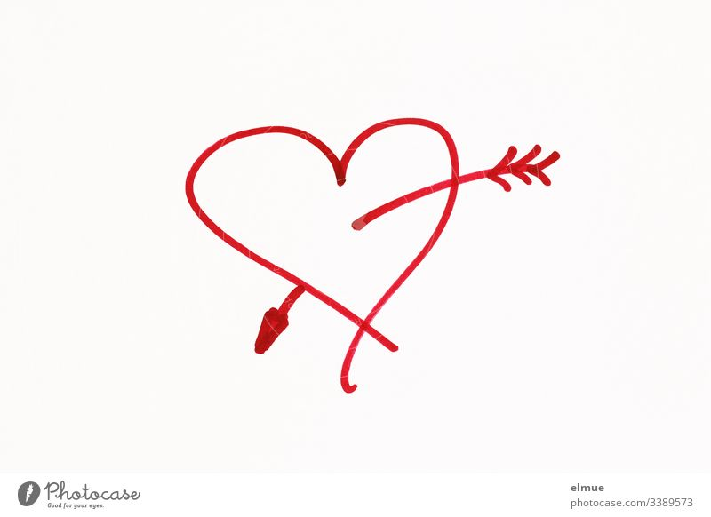 red painted heart with arrow Scribbles Draw Drawing symbolism Communication scribble Interpret Painting (action, artwork) Pictogram sketch Style stylized