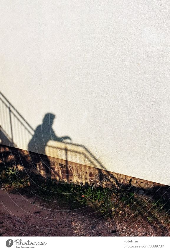 Shadow of a woman on a staircase with banister on a house wall Light and shadow Architecture Building Wall (building) Wall (barrier) Exterior shot Day