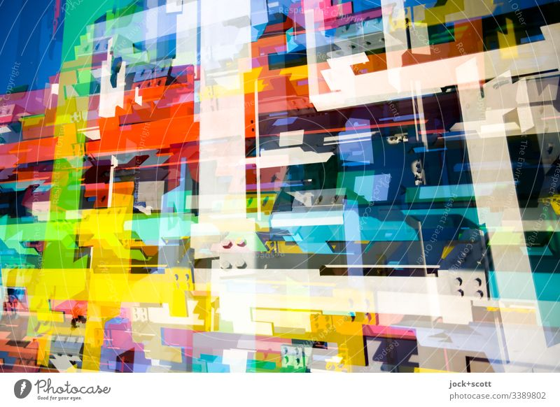 Mix of shapes and colours Structures and shapes Pattern Abstract Experimental Pop Art Multicoloured Double exposure Surrealism Complex Inspiration Colour Modern