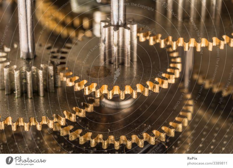 Detail of a fine mechanical gear unit. precision engineering Gearwheel wave cam Camshaft control Mechanics Mechanical Screw Feather Axle Machinery machine