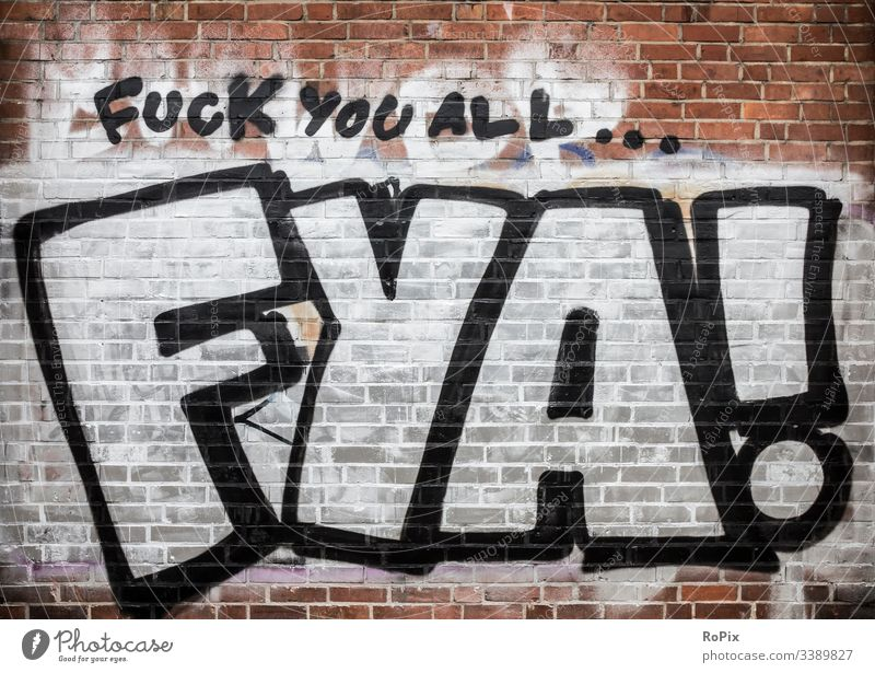 Fuck you all... graffiti wall industrial paint background old abandoned building grunge factory dirty industry detroit spray texture abstract vintage city urban