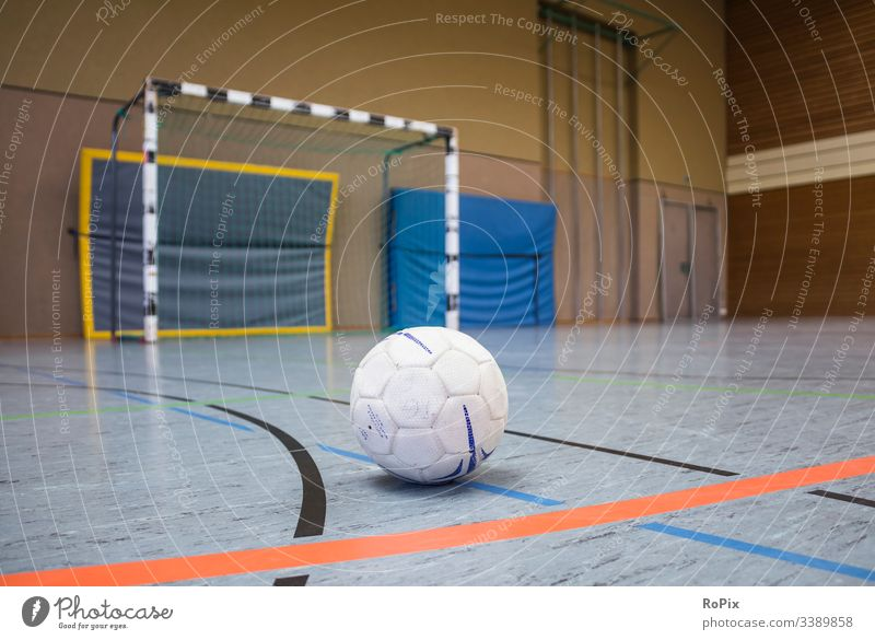 Handball game break. Hand ball Tire Sports Net Goal Fitness centre Ball Gymnasium Playing Blue Team Match tribunal Relaxation Derby Break Playground Competition