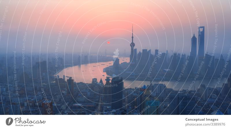 High view of Shanghai at dawn, China. Asia. shanghai skyline pudong bund china asia city tower business chinese river architecture scene huangpu cityscape