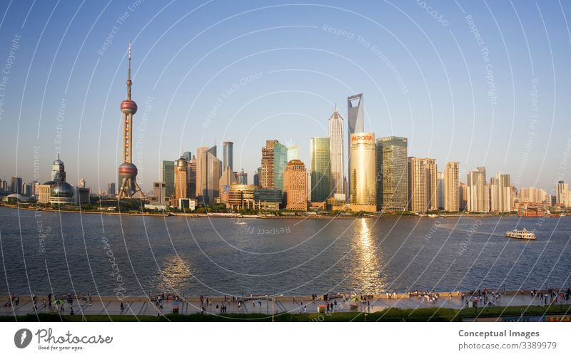 High view of pudong and the bund area of Shanghai in the afternoon shanghai china skyline asia city tower business chinese river architecture scene huangpu