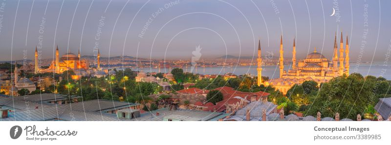 Panoramic image of Istanbul skyline at dusk. Istanbul. Turkey. Asia. ahmed ancient arabic architectural architecture asia blue blue mosque blue mosque istanbul