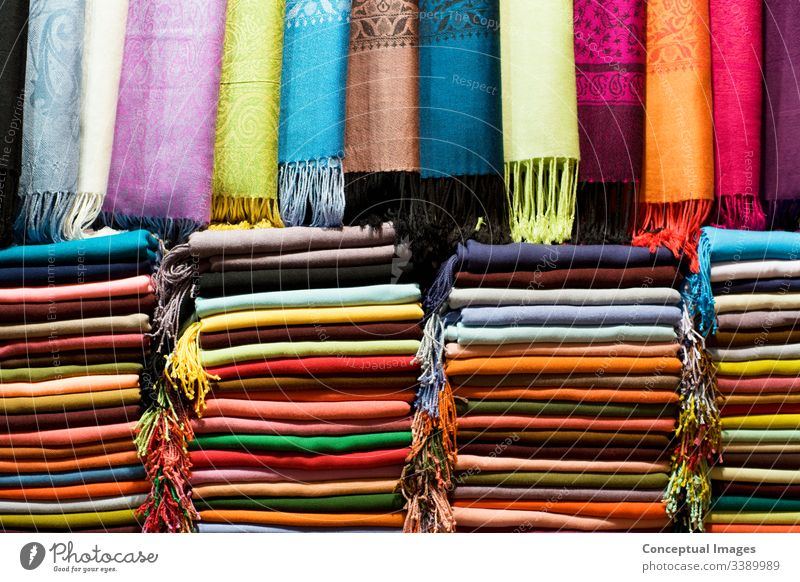 Pashmina Shawls at the Grand Bazaar, Istanbul, Turkey. Asia. asia asian background bazaar bazar bright cashmere cloth color colorful colour cotton decor fabric