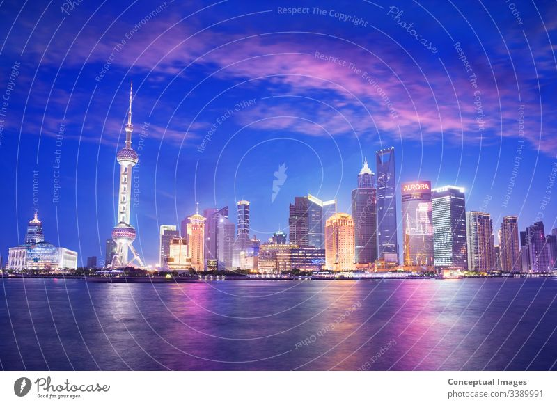 Pudong skyline at dusk, Shanghai. China. Asia shanghai pudong bund china asia city tower business chinese river architecture view scene huangpu cityscape travel