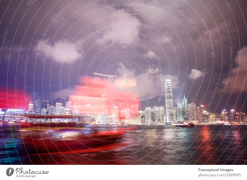Tourist boat and Hong Kong skyline, Hong Kong, China. Asia. asia asian asian backdrop building business china chinese city cityscape crowded district downtown