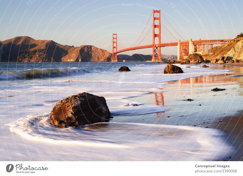 Golden Gate Bridge in the late afternoon light, San Francisco, California, USA. america american architecture bay beach california city cityscape