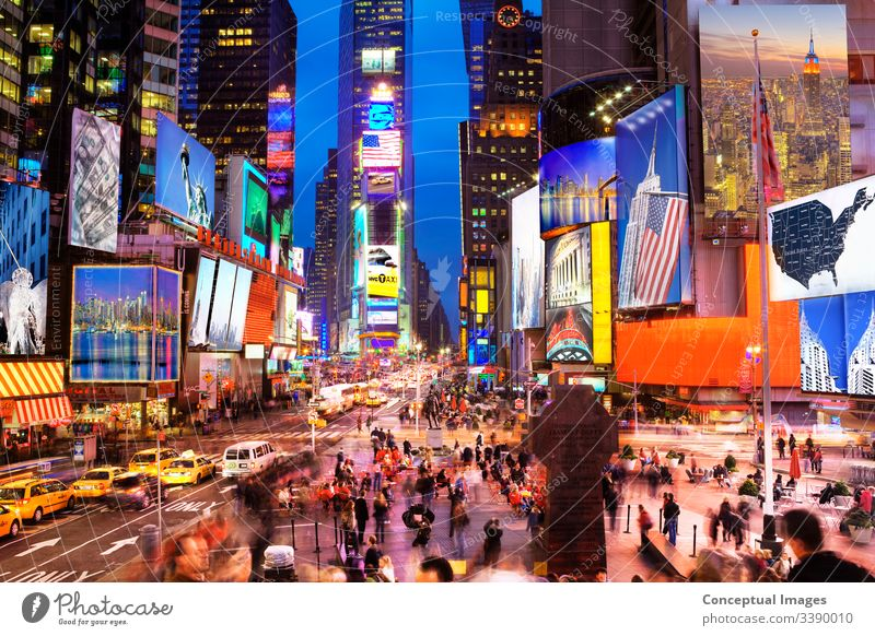 New York Icons in Times Square at dusk - (created with images by the artist) New York City USA Travel photography Vacation & Travel Tourism Destination america