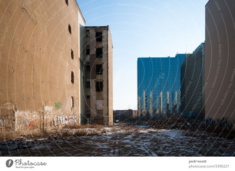 unused land in the middle of the city Sunlight Shadow Fire wall Fallow land Town Office building Winter FALLOW LAND Facade Sky Downtown Architecture