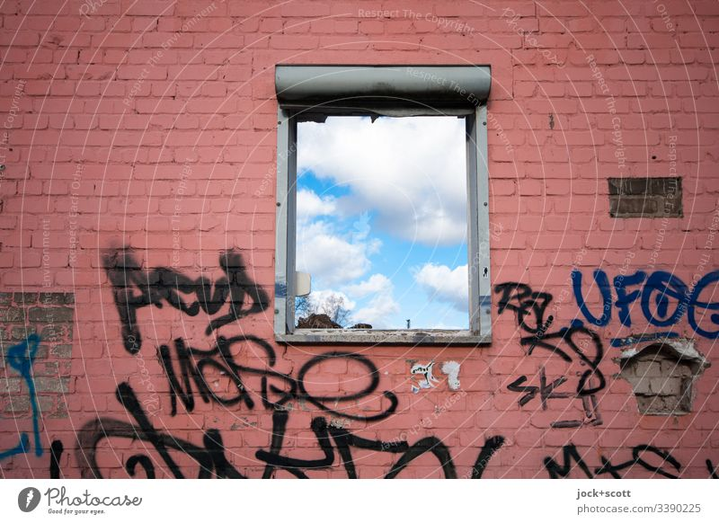 Clouds behind the window Window lost places Transience Ruin Change Broken Beautiful weather Facade Ripe for demolition Sky Derelict Gloomy Subdued colour