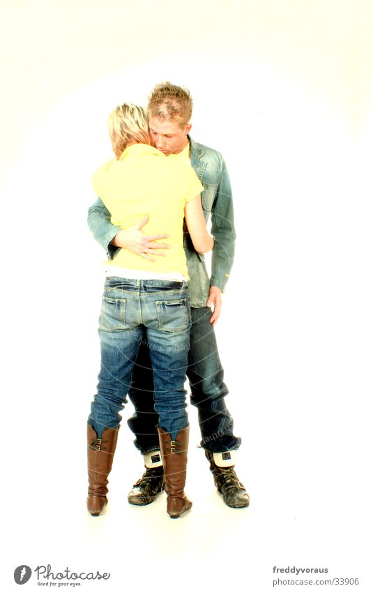 nadin&bo Man Woman Embrace Yellow Love Jeans Fashion Lovers