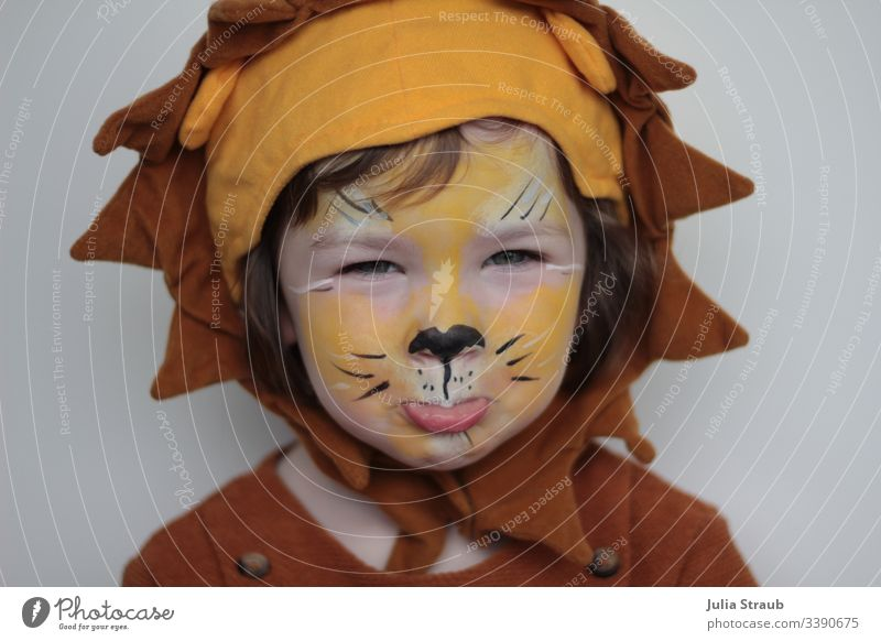 Child dressed and made up as a lion at carnival Girl Sweet Cute Headwear Buttons Apply make-up carnival season Carnival costume Carneval masque Lion's head