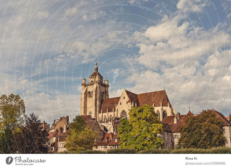 Cathedral in Dole Church Majestic Autumn Town Old town Sky Clouds vacation Sightseeing City trips