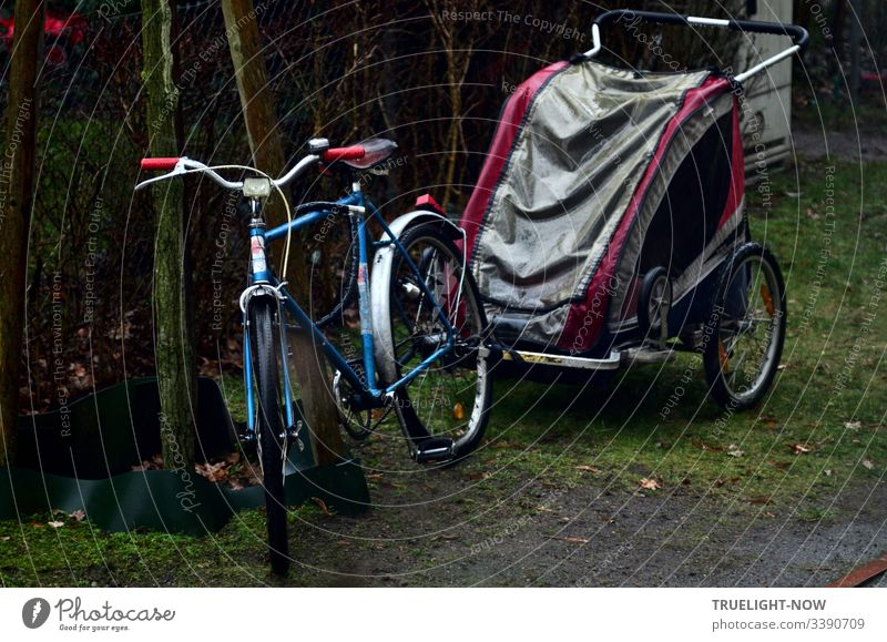 Blue-silver bicycle with red handles and trailer (buggy) in grey / magenta parked by the garden fence for transporting children in the rain Bicycle