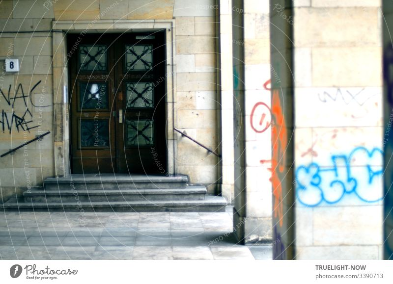 House entrance of a listed apartment block in Berlin Friedrichshain on Frankfurter Allee berlin-friedrichshain Town Architecture Deserted Capital city Building