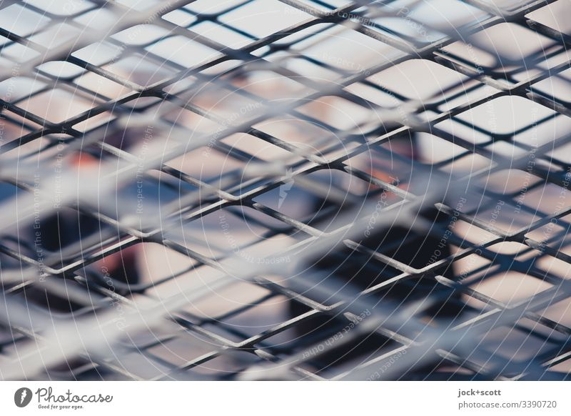Metal bars between me and other people lines Pattern Shallow depth of field Deep depth of field Structures and shapes Day Abstract Line Grating Subdued colour