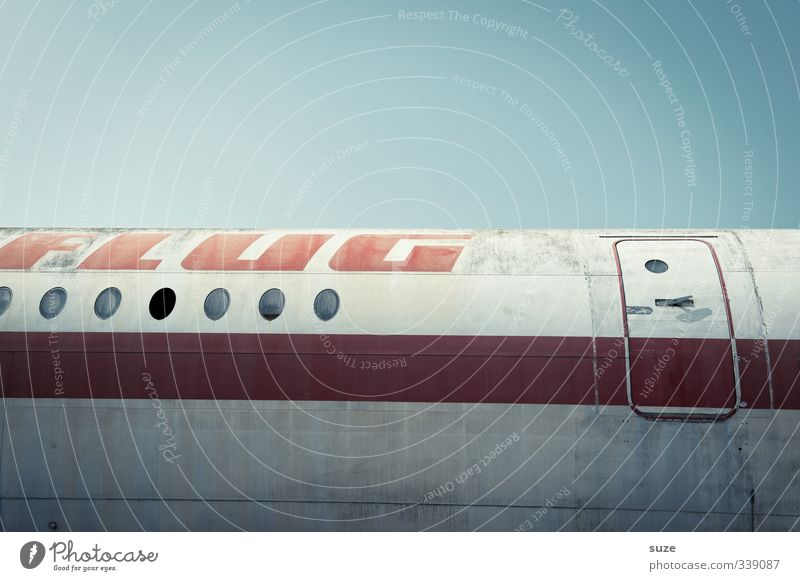 Only flight, without hotel Vacation & Travel Aviation Sky Door Airplane Passenger plane Aircraft Stripe Flying Old Dirty Retro Red Nostalgia Airplane window