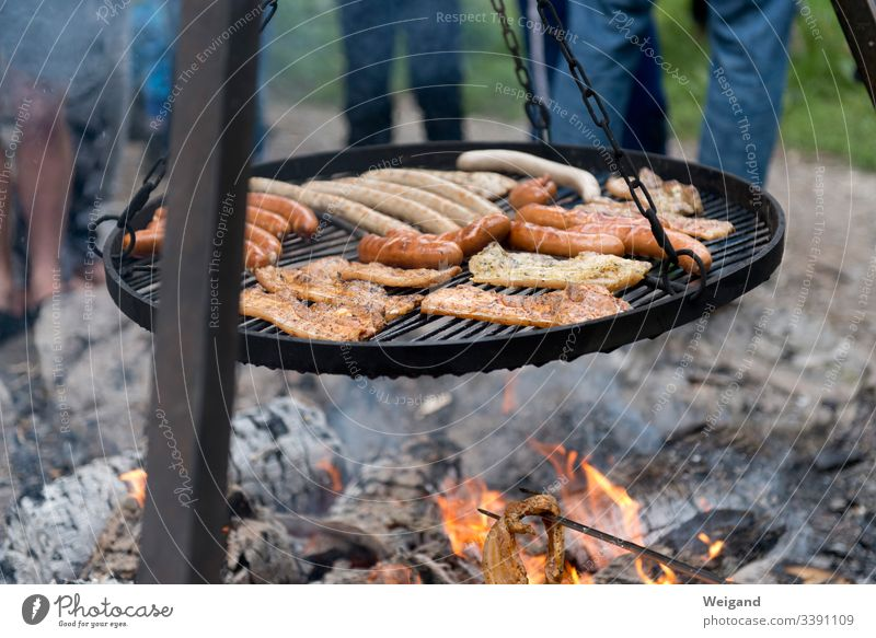 barbecue BBQ Party Meat Steak Sausage Exterior shot Grill Hot Delicious Food BBQ season Camp fire atmosphere Fire campfire