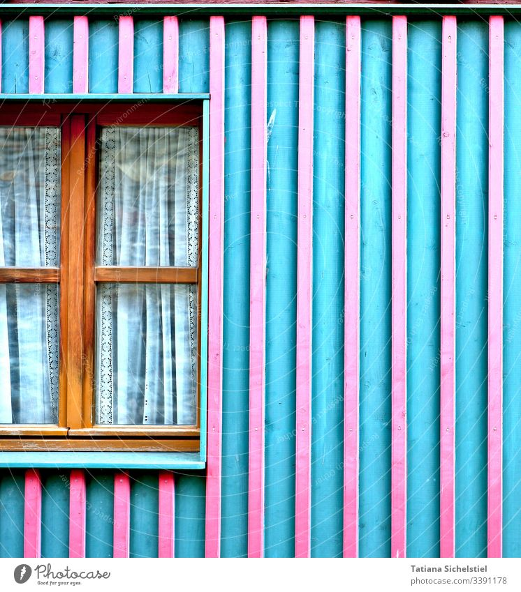 turquoise-pink house facade with wooden window Window House (Residential Structure) Facade Wooden wall Colour photo Wooden house
